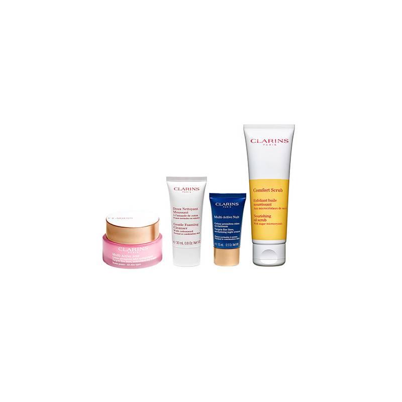 CLARINS  - Set Multi Active + Exfoliante Comfort Scrub para piel seca + Neceser con miniaturas