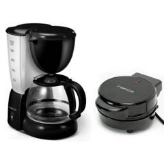 RECCO - Combo: Cafetera con Filtro RCF-CM4277 Negro + Wafflera