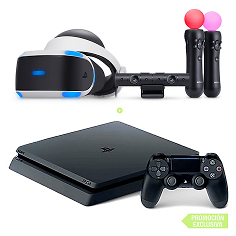 Consola PS4 Sony 1TB Negro + VR PS4 + Cámara + 2 Moves Worlds Bundle