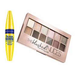 MAYBELLINE - Pack: Máscara Colossal Indestructible + Paleta Sombras Blushed Nudes