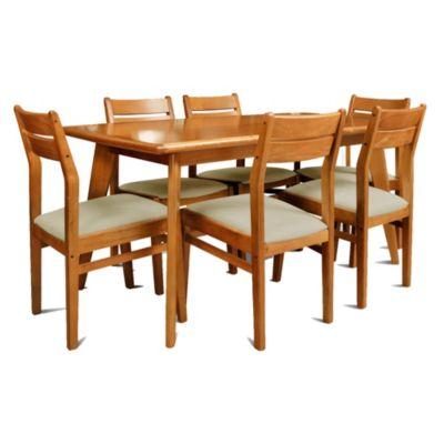 Juego de comedor Docta Cedro mesa + 6 sillas